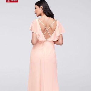 Flutter Sleeve Crinkle Chiffon Bridesmaids Dress